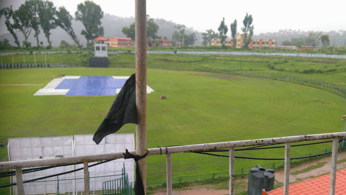 One of the several black flags raised at the Tribuvan University ground. Photo: Supplied