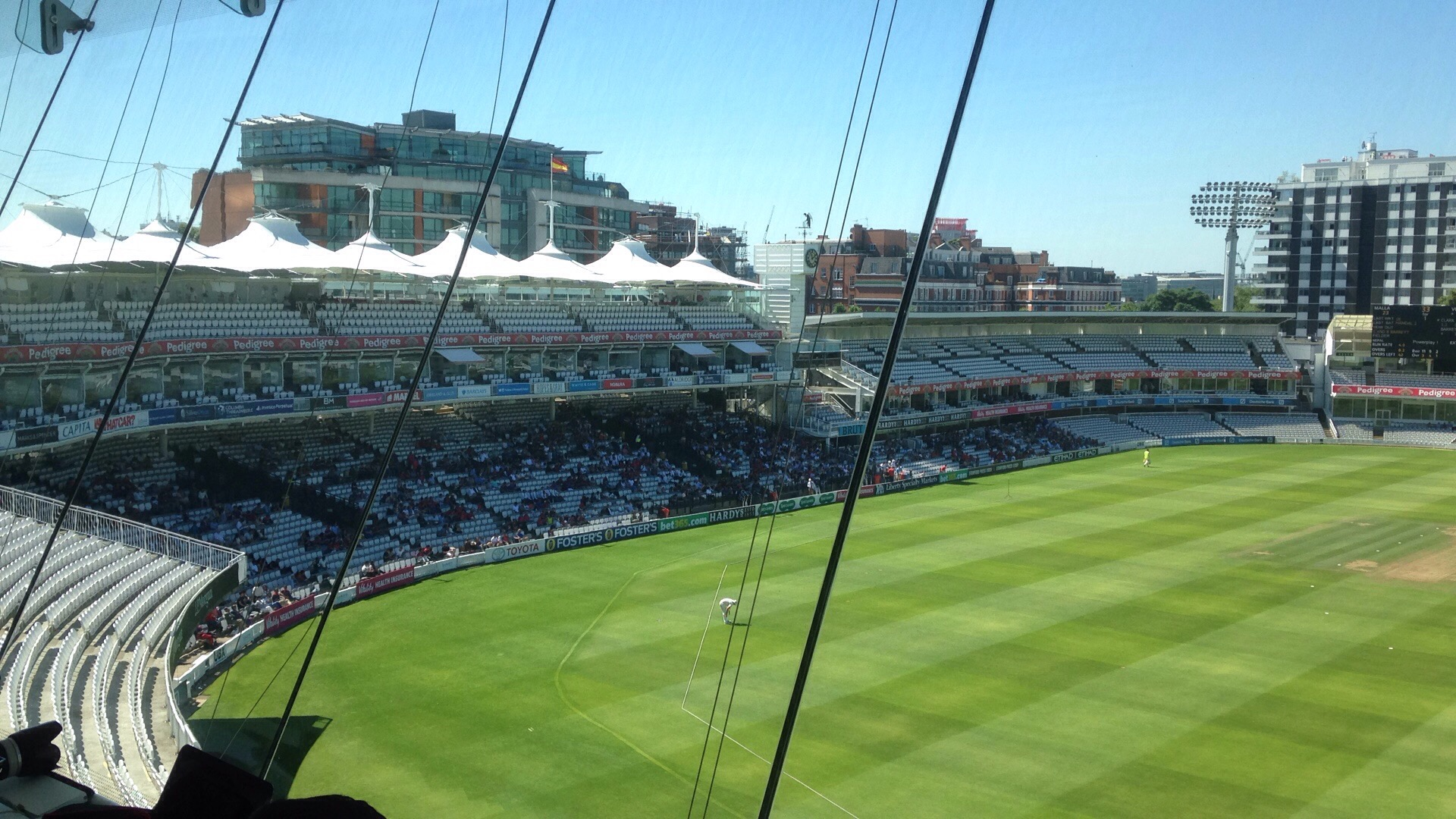 The view of the Nepali fans from the Media Centre at Lord's.