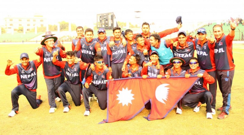 Nepal U19 celebrates the win against NZ U19