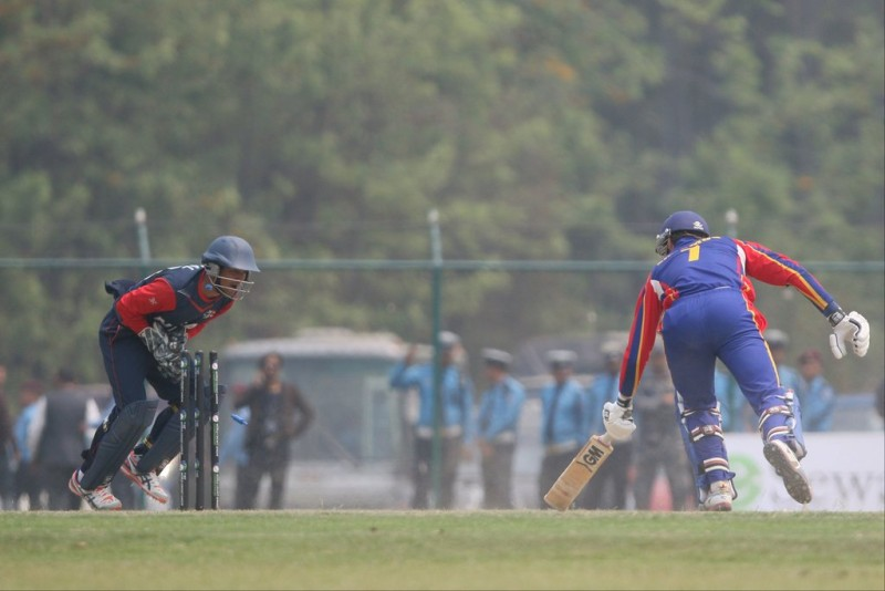 Raju Rijal v Namibia.Photo: ICC