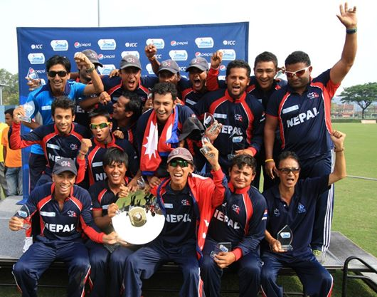 Division 4 winning Nepal Cricket Team along with coaching staffs.