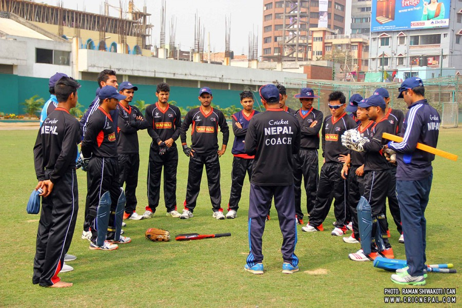 Nepal U19 practices in ICC U19 CWC 2016. Photo: Raman Shiwakoti/CAN